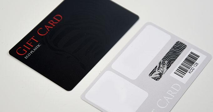 Imprimeur carte cadeau en plastqiue PVC avec pavé à gratter et code-barres