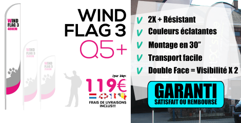 Exemple de drapeau Wind flag imprimé en simple face